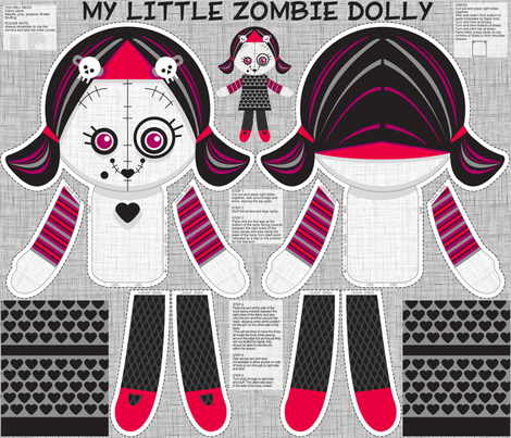 My little zombie dolly (with her spooky friends on 1 yard panel) fabric by cjldesigns on Spoonflower - custom fabric