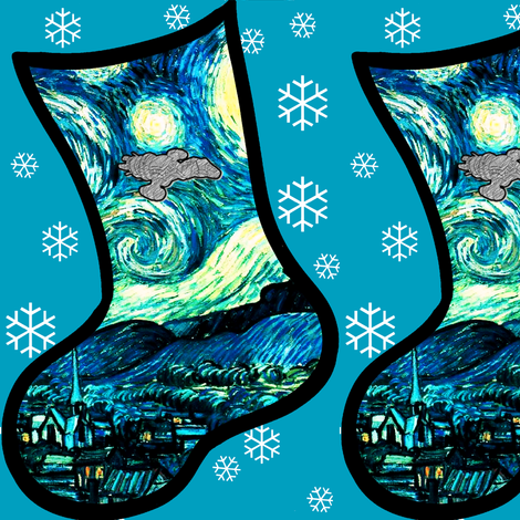 Christmas Stocking DIY Project - Starry Night Space Ship fabric by bohobear on Spoonflower - custom fabric