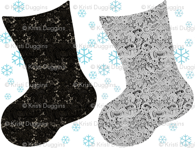 Christmas Stocking Black and Grey Lace with Blue Snowflakes