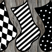 Black and White Christmas Stocking Holiday DIY Cut & Sew Project