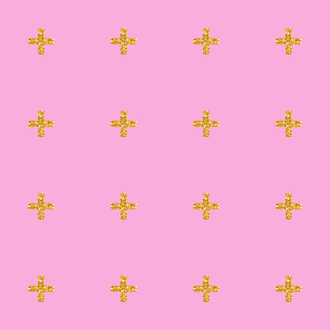 Glitter Cross // Plus on Pink fabric by pencilmein on Spoonflower - custom fabric