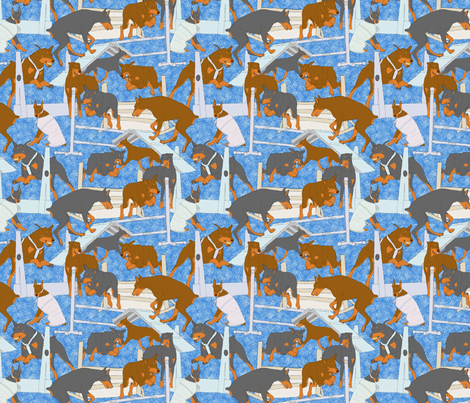 Versatile Dobermans - blue fabric by rusticcorgi on Spoonflower - custom fabric