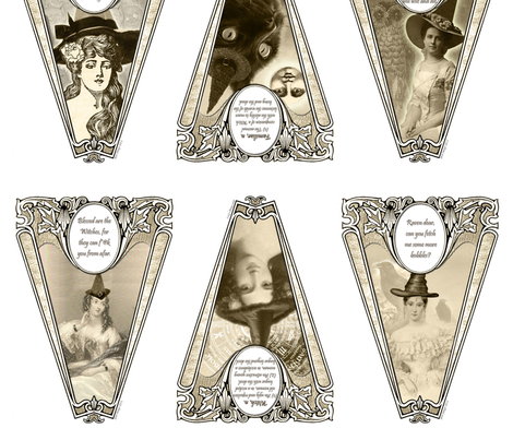 Witch Pennants fabric by katra_craft on Spoonflower - custom fabric