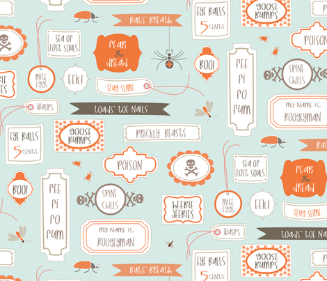 Spine Chilling Labels - robins egg fabric by kayajoy on Spoonflower - custom fabric