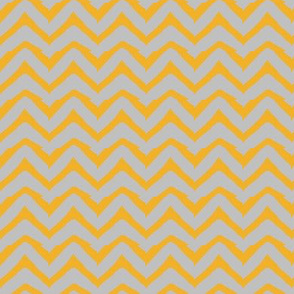 Yellow and Grey Electric Chevron by Bohemian Bear