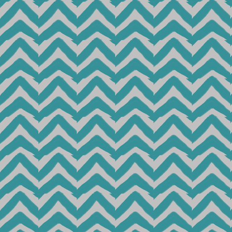 Teal Blue and Grey Jagged Electric Chevron fabric by bohobear on Spoonflower - custom fabric