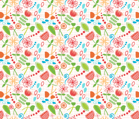 Hand-Drawn Floral Wallpaper fabric by jlwillustration on Spoonflower - custom fabric