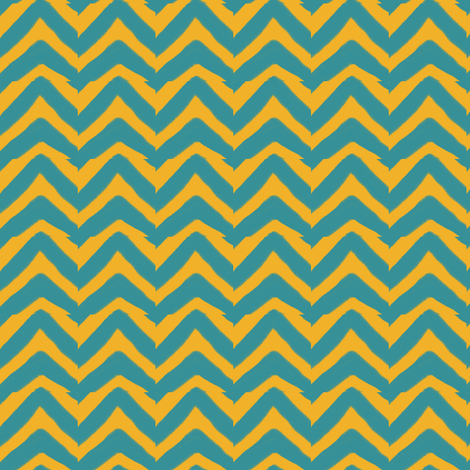 Jagged Teal and Mustard Yellow Chevron fabric by bohobear on Spoonflower - custom fabric
