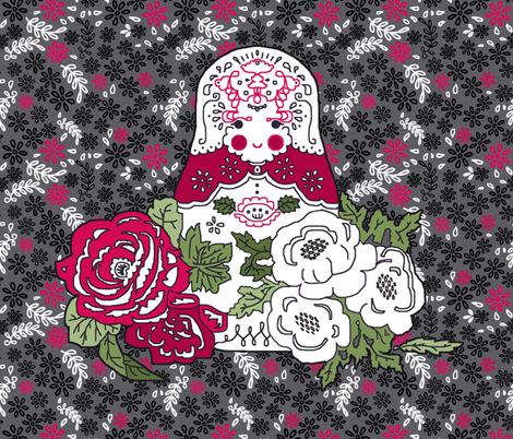 Babushka doll with roses embroidery template fabric by katarina on Spoonflower - custom fabric