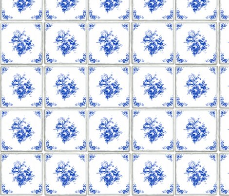 Swedish Delft Rose Tile Wallpaper Lilyoake Spoonflower
