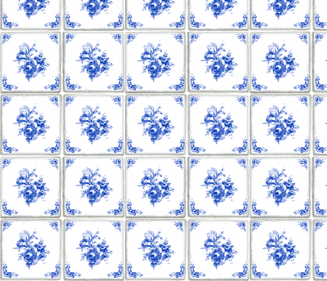 Swedish Delft Rose Tile fabric by lilyoake on Spoonflower - custom fabric