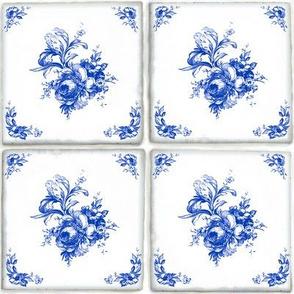 Swedish Delft Rose Tile