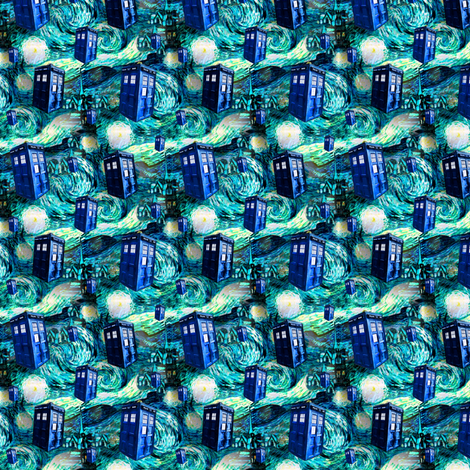 Teal Swirls Starry Night Landscape (lots of police boxes) fabric by bohobear on Spoonflower - custom fabric