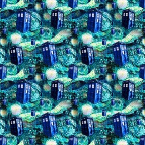 Teal Swirls Starry Night Landscape (lots of police boxes)