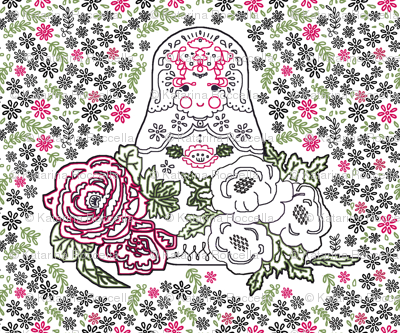 Babushka doll with roses embroidery template