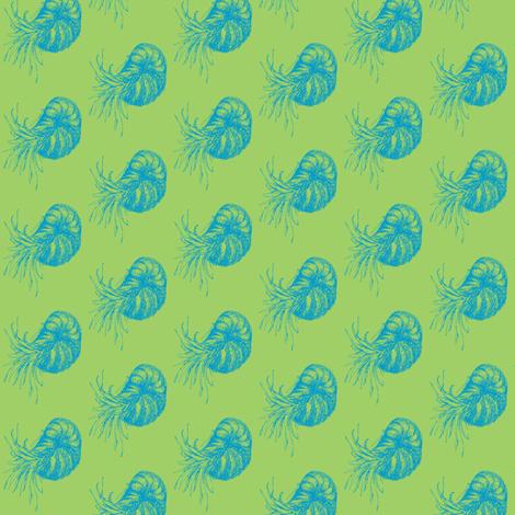 Nautilus Aqua fabric by craftinomicon on Spoonflower - custom fabric