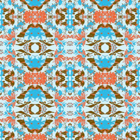 Blue Chocolate Orange Flowers fabric by bettieblue_designs on Spoonflower - custom fabric