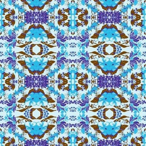 Blue Umber Abstract Floral