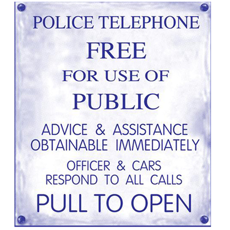 Police Phone Box Sign 2 fabric by susenmc on Spoonflower - custom fabric