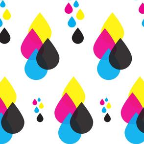 CMYK ink droplets