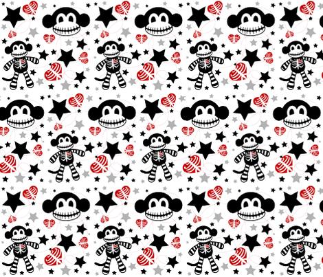 Skeleton Monkey Confetti fabric by pumpkinbones on Spoonflower - custom fabric