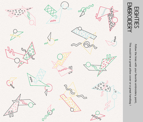Eighties shapes for an embroidery pattern fabric by lucybaribeau on Spoonflower - custom fabric