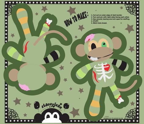 "FQ - 10"" x 14"" Zombie Monkey Cut & Sew Pillow Doll fabric by pumpkinbones on Spoonflower - custom fabric"
