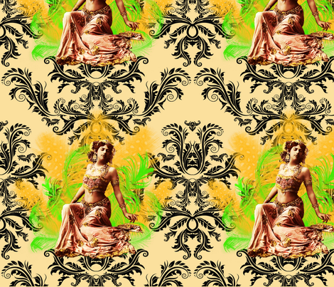 Big Damask Matahari on Cream fabric by lovekittypink on Spoonflower - custom fabric