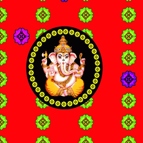 Big Red Cameo Ganesh fabric by lovekittypink on Spoonflower - custom fabric