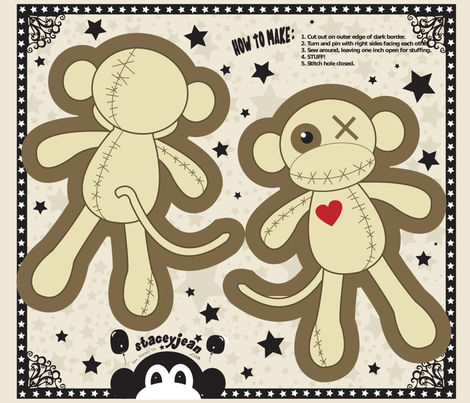 "FQ - 10"" x 14"" Voodoo Monkey Cut & Sew Pillow Doll fabric by pumpkinbones on Spoonflower - custom fabric"