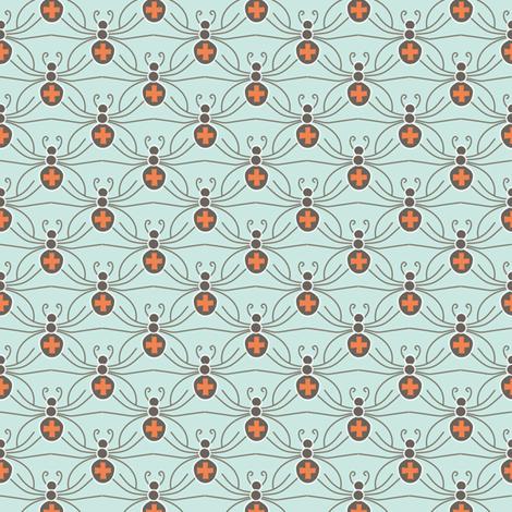 A Web of Black Widows - mint fabric by kayajoy on Spoonflower - custom fabric