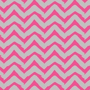 Jagged Electric Chevron Pink and Grey