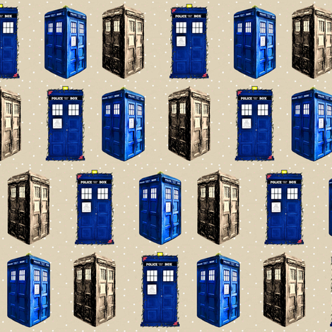 Police Boxes on Cappuccino Dots fabric by bohobear on Spoonflower - custom fabric