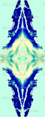 Aqua Blue Ikat  Vertical Pattern