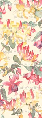 Fuschia & Honeysuckle - cream background