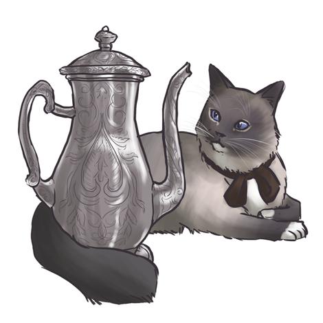 Kitten Tea Party, Tea Pot fabric by ninniku on Spoonflower - custom fabric