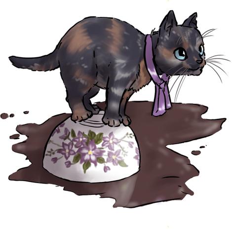 Kitten Tea Party, Spilled Cup fabric by ninniku on Spoonflower - custom fabric