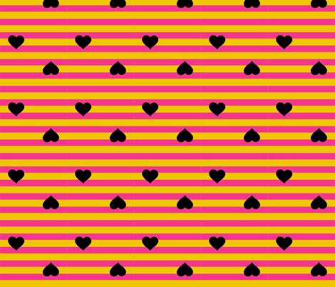 Hearts& Stripes - black fabric by pumpkinbones on Spoonflower - custom fabric