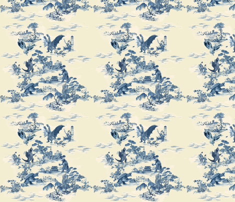 Godzilla and friends toile (blue) fabric by ctaylor863 on Spoonflower - custom fabric