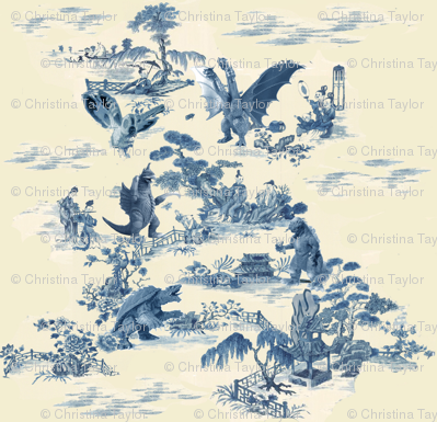 Godzilla and friends toile (blue)