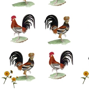 Vintage Printable -French Roosters and Flowers