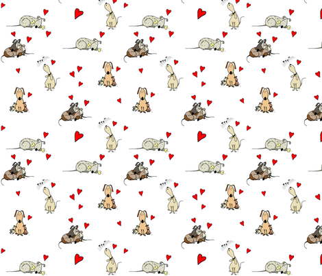 Happy Dogs - Love - white fabric by designbypia on Spoonflower - custom fabric