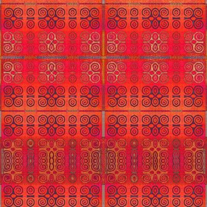 Ikat Adinkra in Orange and Reds