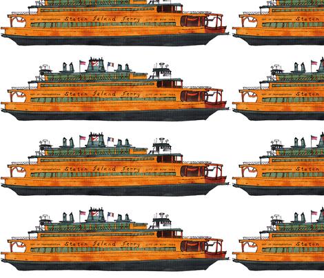 Staten Island Ferry John F. Kennedy fabric by bowsprite on Spoonflower - custom fabric