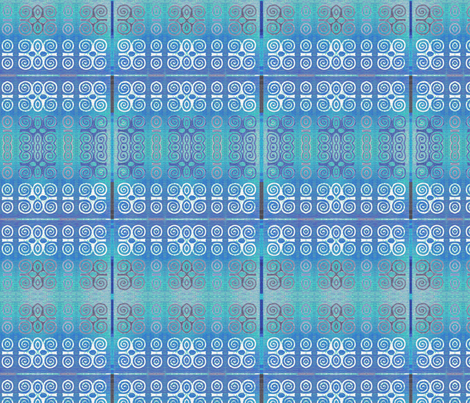 Ikat Adinkra Primitive in Blue fabric by wren_leyland on Spoonflower - custom fabric