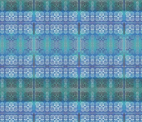 Ikat Adinkra Primitive in Blue fabric by wren_leyland on Spoonflower - custom fabric