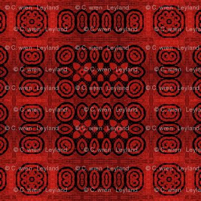 Ikat Crimson Red Primitive Weave