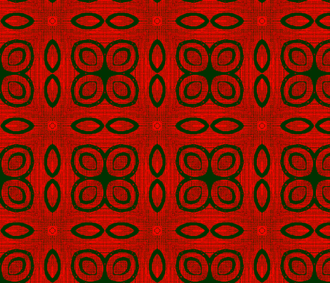 Ikat Green Rings and Fire Poppies fabric by wren_leyland on Spoonflower - custom fabric