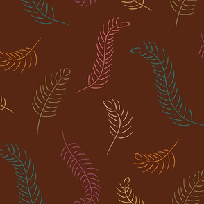 Falling Feathers, multi / brown (large scale)