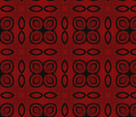 Woodcut Crimson Rings and Fire Poppies fabric by wren_leyland on Spoonflower - custom fabric